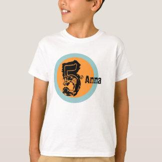 Kreis-Namen-und Alters-5. Geburtstags-T-Shirt T-Shirt
