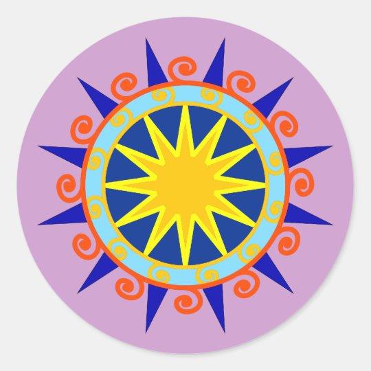 Kreis Spiralen Stern circle spirals star Runder Aufkleber