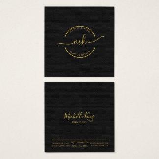 Kreis-und Swashes-Monogramm-Gold auf schwarzem Quadratische Visitenkarte