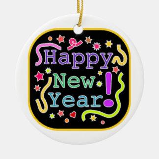 Kreis-Verzierungs-guten Rutsch ins Neue Jahr Keramik Ornament