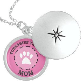 Kreis-Yorkshire-Terrier-Mamma-Abzeichen Sterling Silberkette