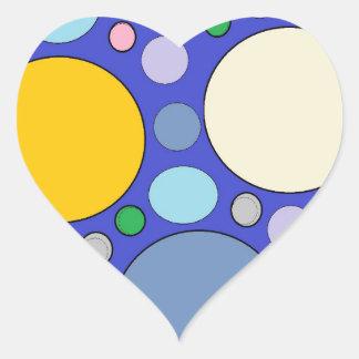 Kreise und Tupfen Herz-Aufkleber