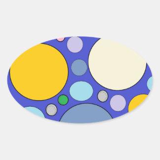 Kreise und Tupfen Ovaler Aufkleber