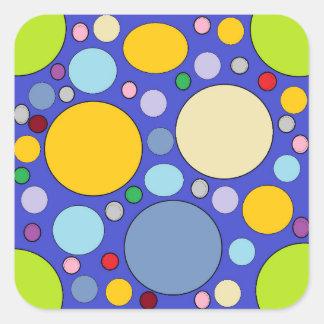 Kreise und Tupfen Quadratischer Aufkleber