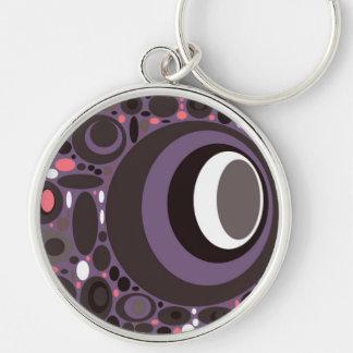 Kreise zacken auf Lila aus, das Groovy Mod, Schabl Silberfarbener Runder Schlüsselanhänger