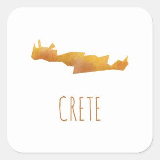 Kreta-Karte Quadratischer Aufkleber