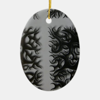 kreutz schwarze flame ovales keramik ornament