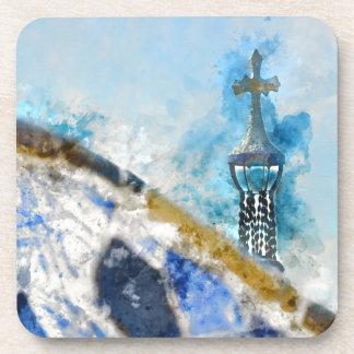 Kreuz bei Parc Guell in Barcelona Spanien Getränkeuntersetzer