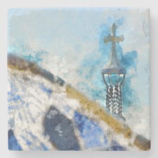 Kreuz bei Parc Guell in Barcelona Spanien Steinuntersetzer