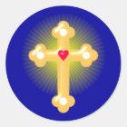 Kreuz cross runder aufkleber