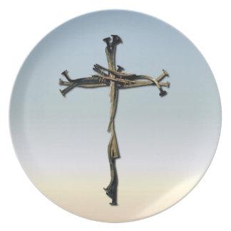 Kreuz der Nägel Jesus retten rustikales Flache Teller