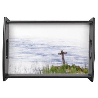 Kreuz durch Fluss Serviertablett