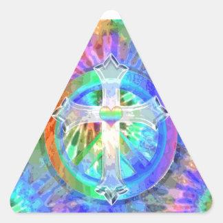 Kreuz, Friedenszeichen Dreieckiger Aufkleber