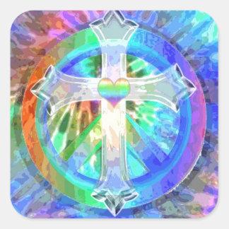 Kreuz, Friedenszeichen Quadratischer Aufkleber