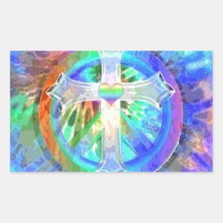 Kreuz, Friedenszeichen Rechteckiger Aufkleber
