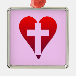 Kreuz innerhalb des roten Herzens Silbernes Ornament