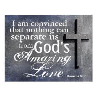 Kreuz mit Bibel-Vers-Römer-8:38 Postkarte
