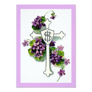 Kreuz mit lila Blumen 12,7 X 17,8 Cm Einladungskarte