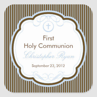 Kreuz Rahmen-im ersten heilige Kommunions-Jungen Quadratsticker