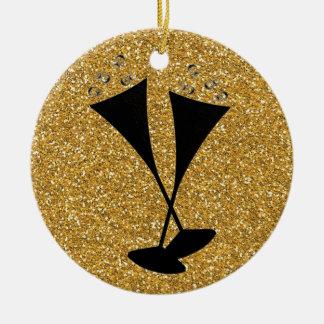 Kreuz-schwarze Champagne-Gläser auf GoldGlitter Keramik Ornament