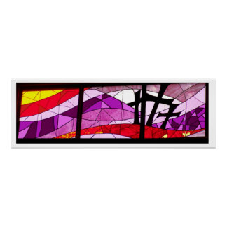 Kreuze der Buntglas-Plakat-Kunst-drei von Ostern Poster