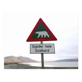 Kreuzenverkehrszeichen des Eisbären Postkarte