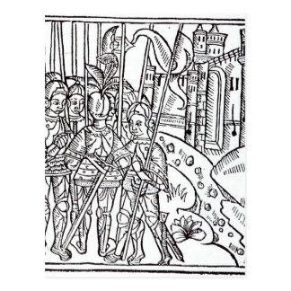 Kreuzfahrer, gedruckt von Wynkyn de Worde Postkarte