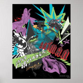 Kreuzfahrer-Neon-Collage Batmans Caped Posterdruck