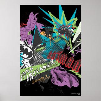 Kreuzfahrer-Neon-Collage Batmans Caped Poster