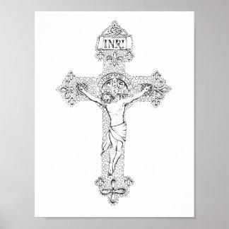 Kreuzigung, Feder durch Jenny McLaughlin Poster