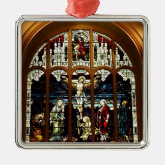 Kreuzigung - Jesus auf dem Kreuz - Buntglas Silbernes Ornament