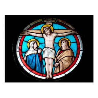 Kreuzigungs-Buntglas-Fenster Postkarte