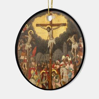 Kreuzigungs-Szene 1711 Keramik Ornament