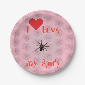 Kreuzspinne im Netz mit Tautropfen wie Perlen Pappteller