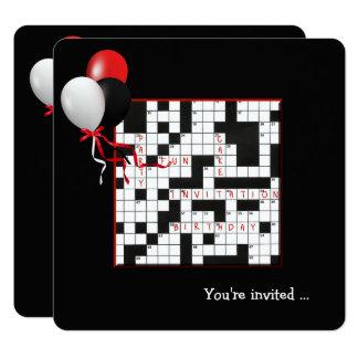 Kreuzworträtsel-und Ballon-Geburtstags-Party Karte