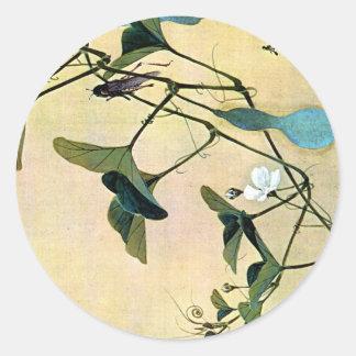 Kricket auf einer Rebe-Japaner Woodblock Kunst Runder Aufkleber