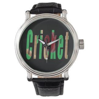 Kricket-Spiel-Logo, die lederne Uhr der Männer