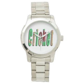 Kricket-Spiel-Logo, große silberne Unisexuhr Uhr
