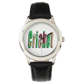Kricket-Spiel-Logo, Kinderschwarze lederne Uhr