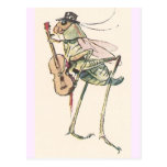 Kricket, welches die Geige spielt Postkarte