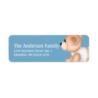 Kriechende Teddybär-Baby-Blue1-Adressen-Etiketten