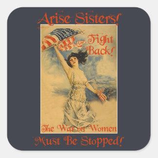 Krieg auf Frauen-politischen Protest-Aufklebern Quadrat-Aufkleber