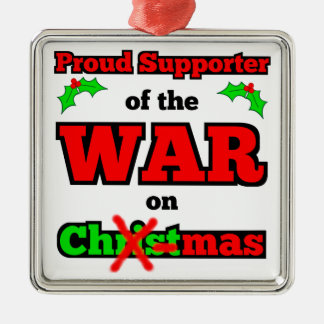 """""""Krieg auf Weihnachten"""" Weihnachtsverzierung Silbernes Ornament"""