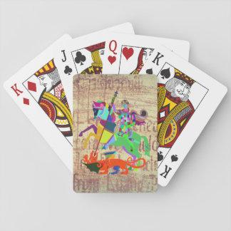 Krieger tötet einen Drachen Spielkarten