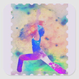 Kriegers-Göttin-Yoga-Reihe Quadratischer Aufkleber