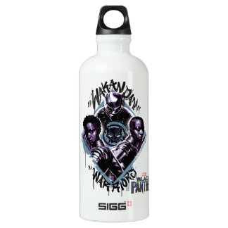 Kriegers-Graffiti des schwarzen Panther-| Wakandan Aluminiumwasserflasche