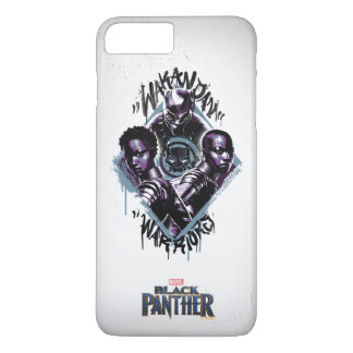 Kriegers-Graffiti des schwarzen Panther-  Wakandan iPhone 8 Plus/7 Plus Hülle