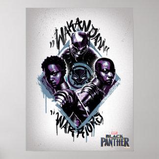 Kriegers-Graffiti des schwarzen Panther-| Wakandan Poster