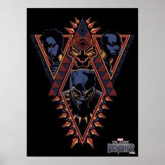 Kriegers-Stammes- Platte des schwarzen Panther-| Poster