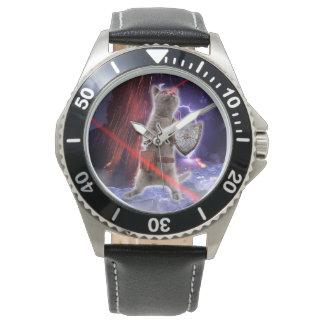 Kriegerskatzen - Ritterkatze - Katzenlaser Uhr